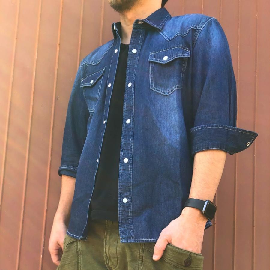 デニムシャツ メンズ ライトオンスデニム 綿 半袖 7分袖カジュアル アメカジ ウエスタンシャツ トップス|atmarvelous|06