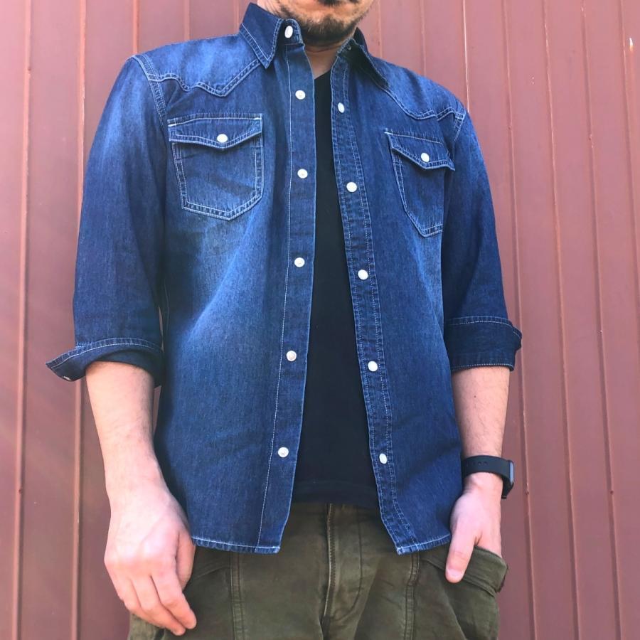 デニムシャツ メンズ ライトオンスデニム 綿 半袖 7分袖カジュアル アメカジ ウエスタンシャツ トップス|atmarvelous|07