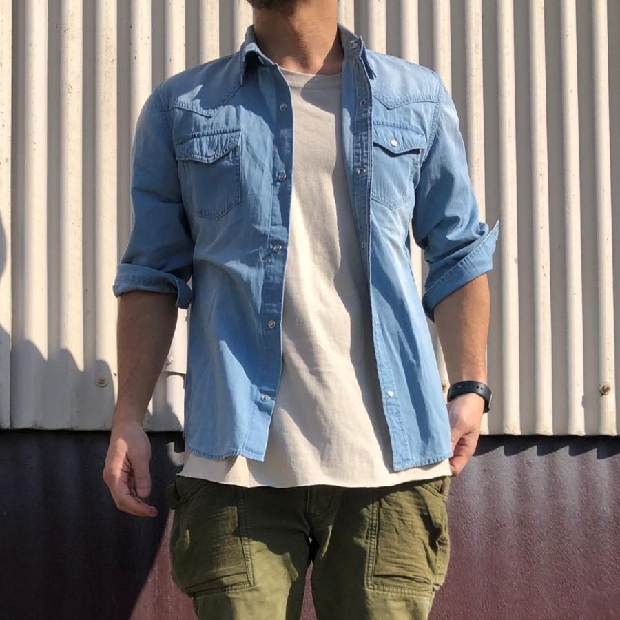 デニムシャツ メンズ ライトオンスデニム 綿 半袖 7分袖カジュアル アメカジ ウエスタンシャツ トップス|atmarvelous|08