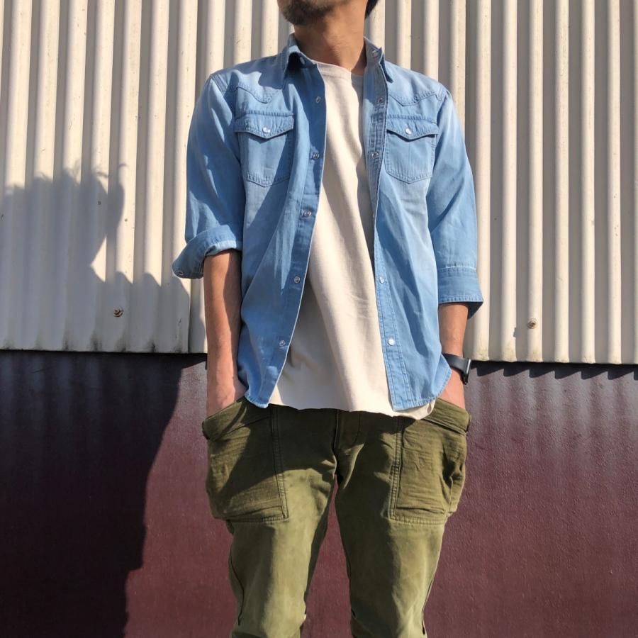 デニムシャツ メンズ ライトオンスデニム 綿 半袖 7分袖カジュアル アメカジ ウエスタンシャツ トップス|atmarvelous|09
