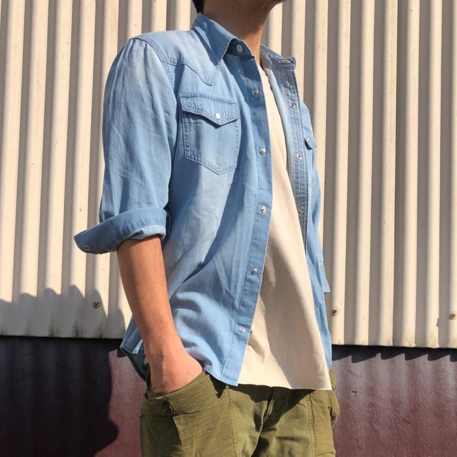 デニムシャツ メンズ ライトオンスデニム 綿 半袖 7分袖カジュアル アメカジ ウエスタンシャツ トップス|atmarvelous|10