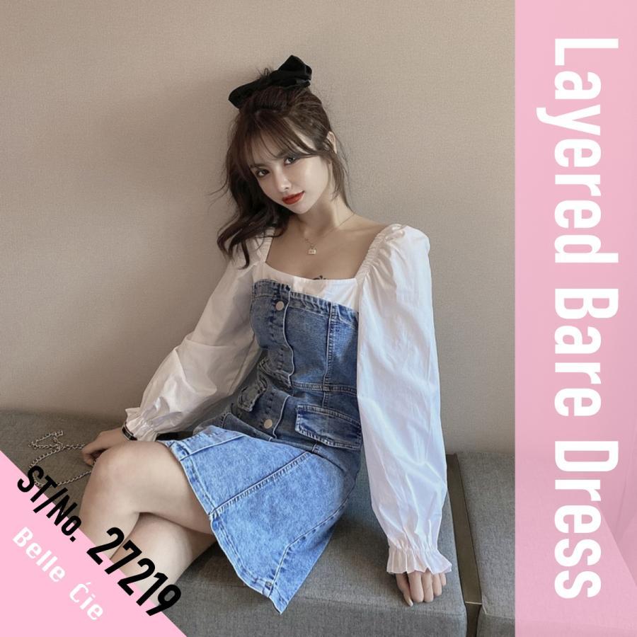 フェイクレイヤードデニムワンピース レディース ストレッチデニム 韓国ファッション スクエアネック ジャンスカ ベアワンピ|atmarvelous