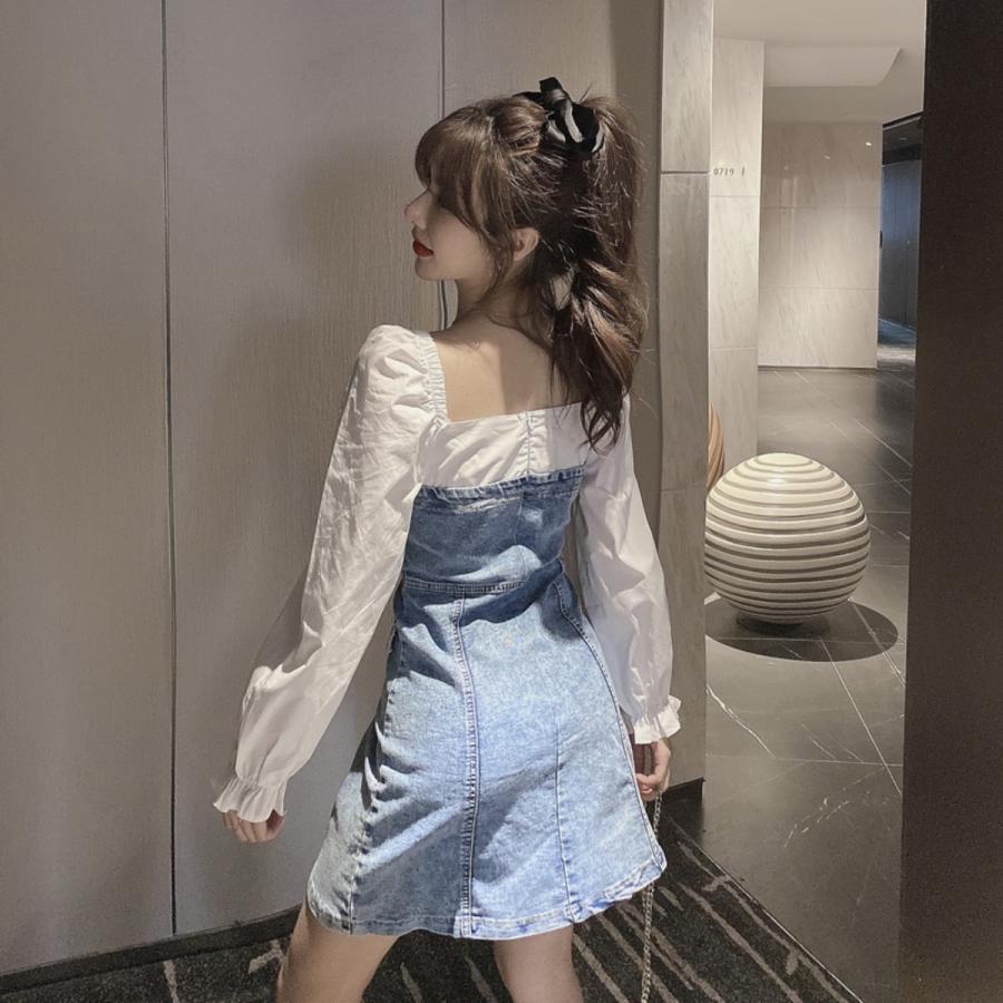 フェイクレイヤードデニムワンピース レディース ストレッチデニム 韓国ファッション スクエアネック ジャンスカ ベアワンピ|atmarvelous|11