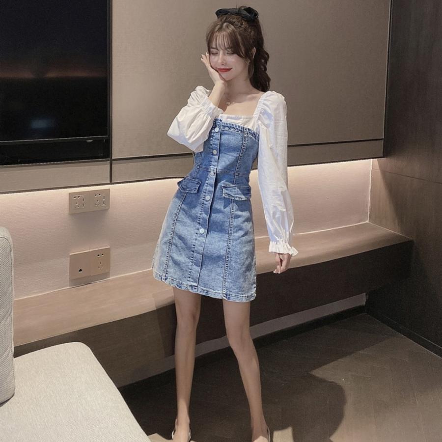 フェイクレイヤードデニムワンピース レディース ストレッチデニム 韓国ファッション スクエアネック ジャンスカ ベアワンピ|atmarvelous|05