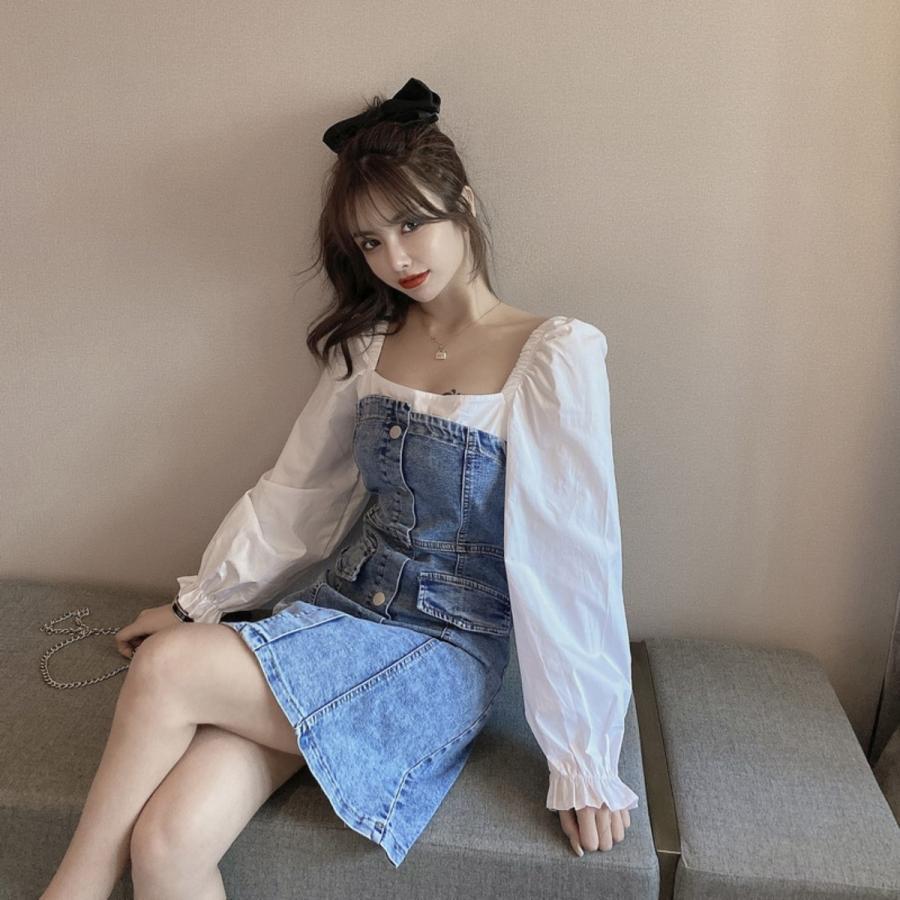 フェイクレイヤードデニムワンピース レディース ストレッチデニム 韓国ファッション スクエアネック ジャンスカ ベアワンピ|atmarvelous|09