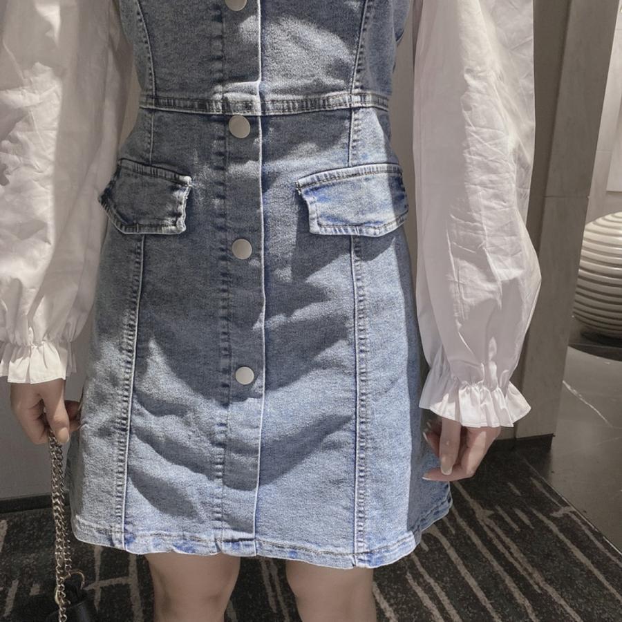 フェイクレイヤードデニムワンピース レディース ストレッチデニム 韓国ファッション スクエアネック ジャンスカ ベアワンピ|atmarvelous|10