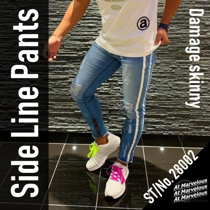 ダメージジーンズ スキニーパンツ メンズ ラインパンツ ストレッチデニム 大きいサイズ ストリートファッション atmarvelous