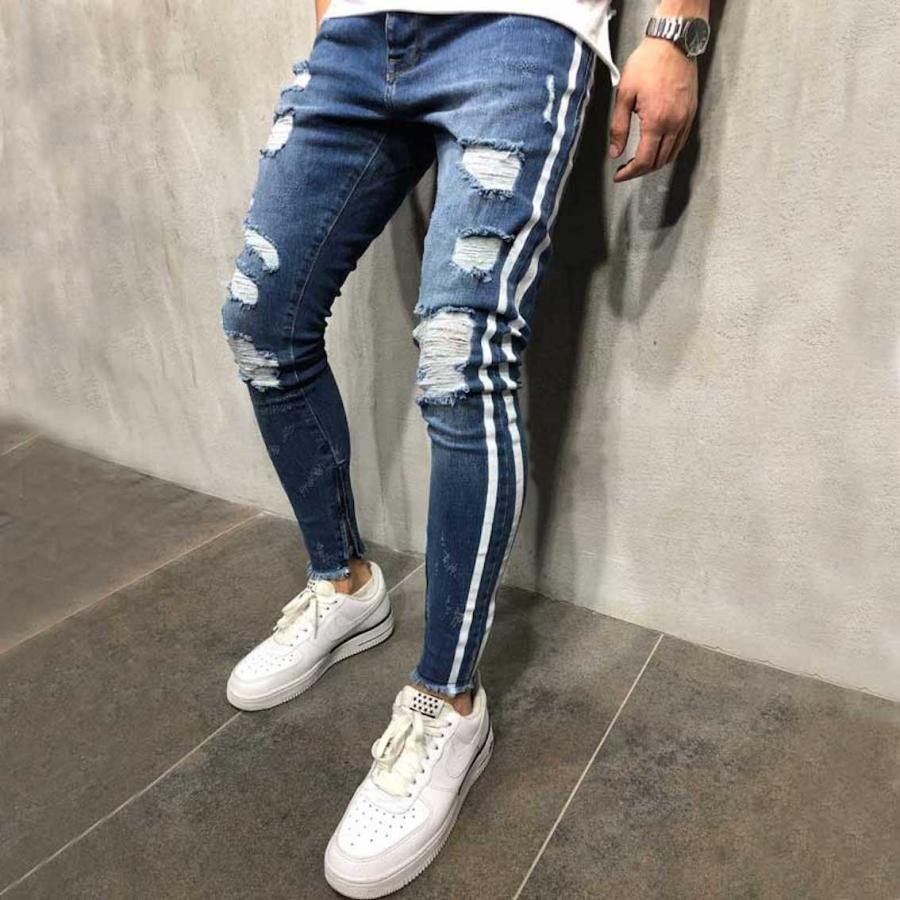 ダメージジーンズ スキニーパンツ メンズ ラインパンツ ストレッチデニム 大きいサイズ ストリートファッション atmarvelous 11