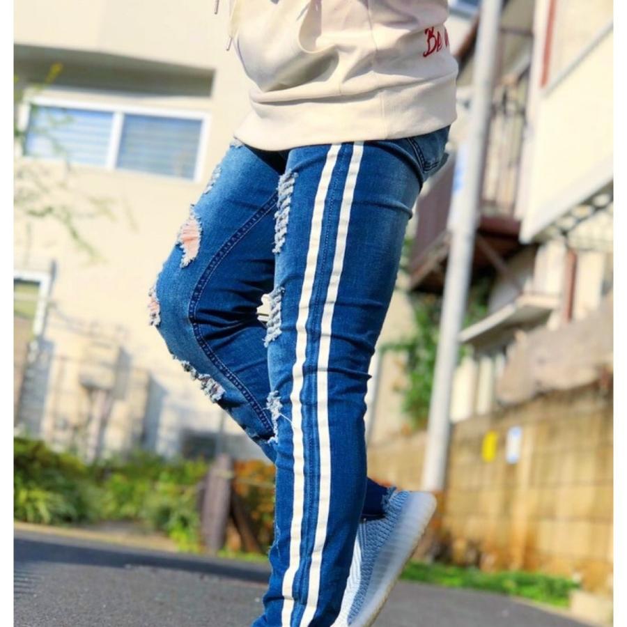 ダメージジーンズ スキニーパンツ メンズ ラインパンツ ストレッチデニム 大きいサイズ ストリートファッション atmarvelous 15