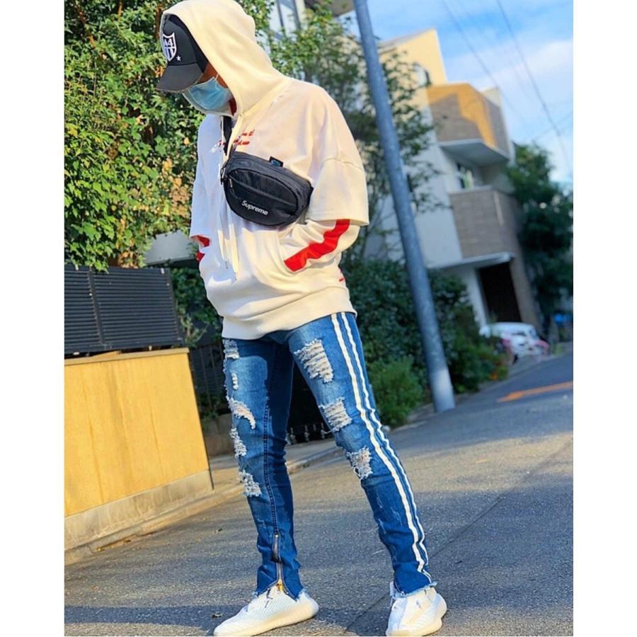 ダメージジーンズ スキニーパンツ メンズ ラインパンツ ストレッチデニム 大きいサイズ ストリートファッション atmarvelous 16