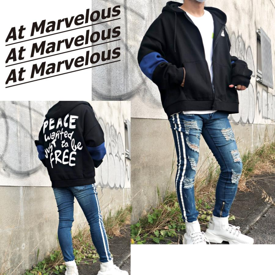 ダメージジーンズ スキニーパンツ メンズ ラインパンツ ストレッチデニム 大きいサイズ ストリートファッション atmarvelous 19