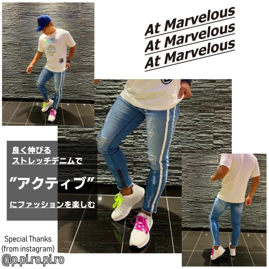 ダメージジーンズ スキニーパンツ メンズ ラインパンツ ストレッチデニム 大きいサイズ ストリートファッション atmarvelous 04