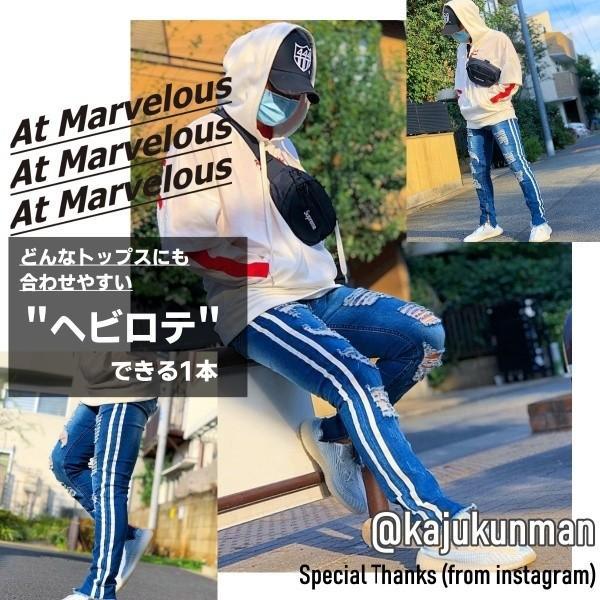 ダメージジーンズ スキニーパンツ メンズ ラインパンツ ストレッチデニム 大きいサイズ ストリートファッション atmarvelous 05