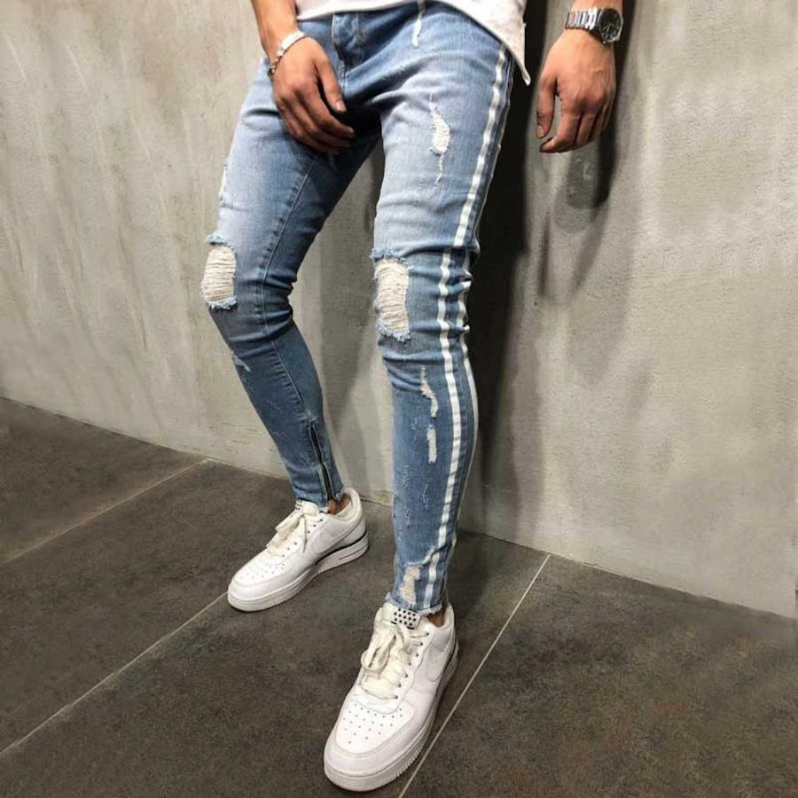 ダメージジーンズ スキニーパンツ メンズ ラインパンツ ストレッチデニム 大きいサイズ ストリートファッション atmarvelous 08