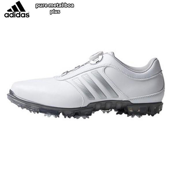「送料無料」 アディダス ゴルフ ピュアメタル ボア プラス Q44897 ゴルフシューズ adidas ホワイト×シルバーメタリック×ダークシルバー PURE METAL BOA PLUS