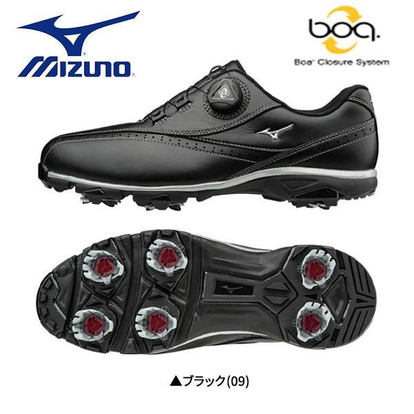 「幅4E」 ミズノ ゴルフ ワイドスタイル 002 ボア 51GQ1740 ゴルフシューズ ブラック(09)