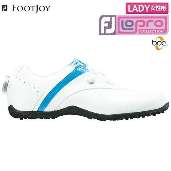 「レディース」 フットジョイ ゴルフ FJ ロープロ スパイクレス ボア ゴルフシューズ ホワイト×ブルー(97191) FOOTJOY LoPro Spikeless Boa