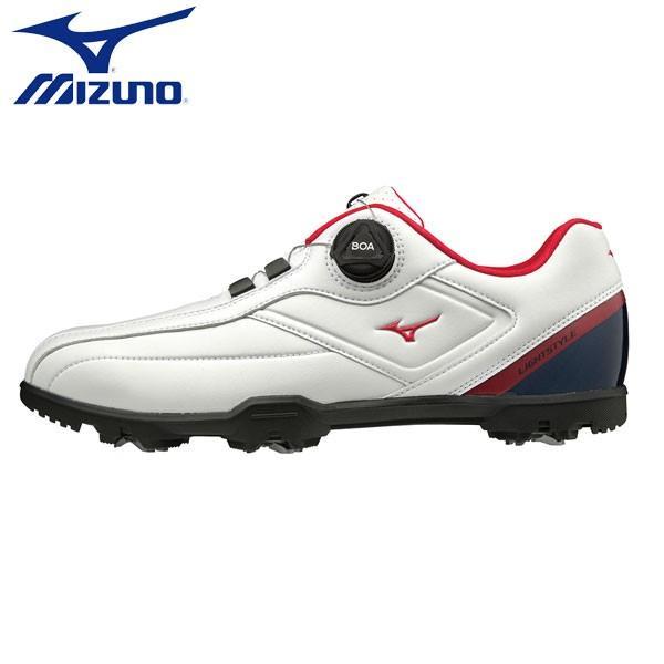 「幅3E」 ミズノ ゴルフ ライトスタイル 003 ボア 51GM1960 ゴルフシューズ ホワイト×ネイビー×レッド(14)