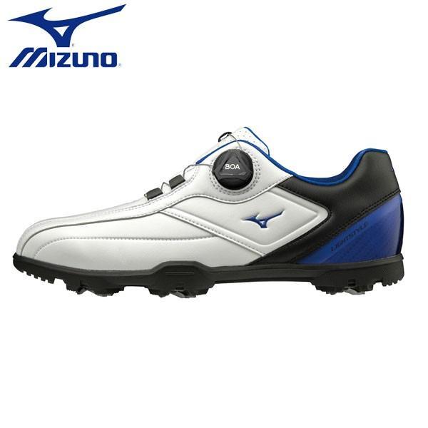 「幅3E」 ミズノ ゴルフ ライトスタイル 003 ボア 51GM1960 ゴルフシューズ ホワイト×ブルー(22)