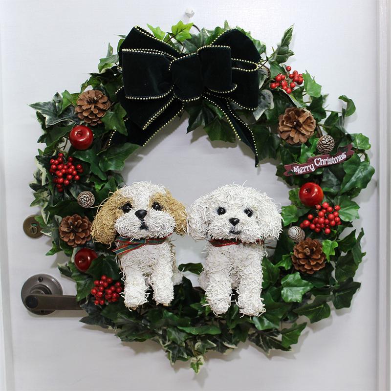 犬のクリスマスリースアートタイプ 2匹の犬タイプ シーズーとマルチーズ