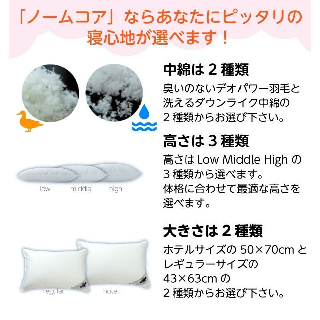洗える レギュラーサイズ 43×63 防ダニ枕カバー付き 日本製 極上の快眠とリラックス 究極の枕 ノームコア ダクロン Down-likeダウンライク atorie-moon 03