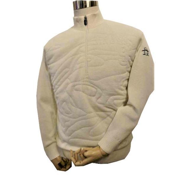 マンシングウェア ゴルフ Munsingwear ゴルフ メンズウェア 防風ハーフジップニット 30%OFF LL ホワイト SG4330