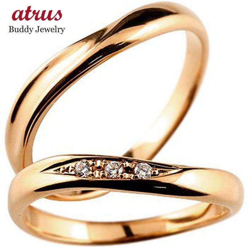2019年最新海外 マリッジリング 結婚指輪 ペアリング ダイヤモンド ダイヤ ピンクゴールドk18 結婚式 18金 ストレート カップル メンズ レディース 送料無料, なかひがし商店 809cc18d
