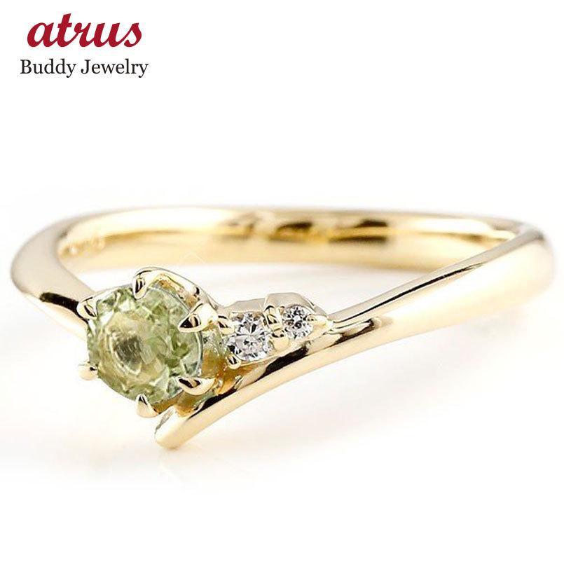 絶妙なデザイン ペリドット イエローゴールドk10リング ダイヤモンド 指輪 ピンキーリング 一粒 大粒 k10 レディース 8月誕生石 宝石 送料無料, ガイナバザール 33a5f818
