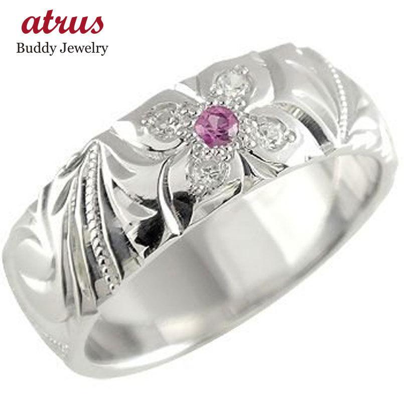 魅力の ハワイアンジュエリー ピンキーリング ピンクトルマリン ダイヤモンド プラチナ リング 指輪 幅広 10月誕生石 ハワイアンリング pt900 ダイヤ ストレート 宝石, citygirl 88957639