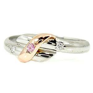 結婚指輪 安い プラチナ ペアリング 2本セット pt900 18金 ピンクサファイア ダイヤモンド マリッジリング 甲丸 ピンクゴールド 18k コンビ 送料無料|atrus|02