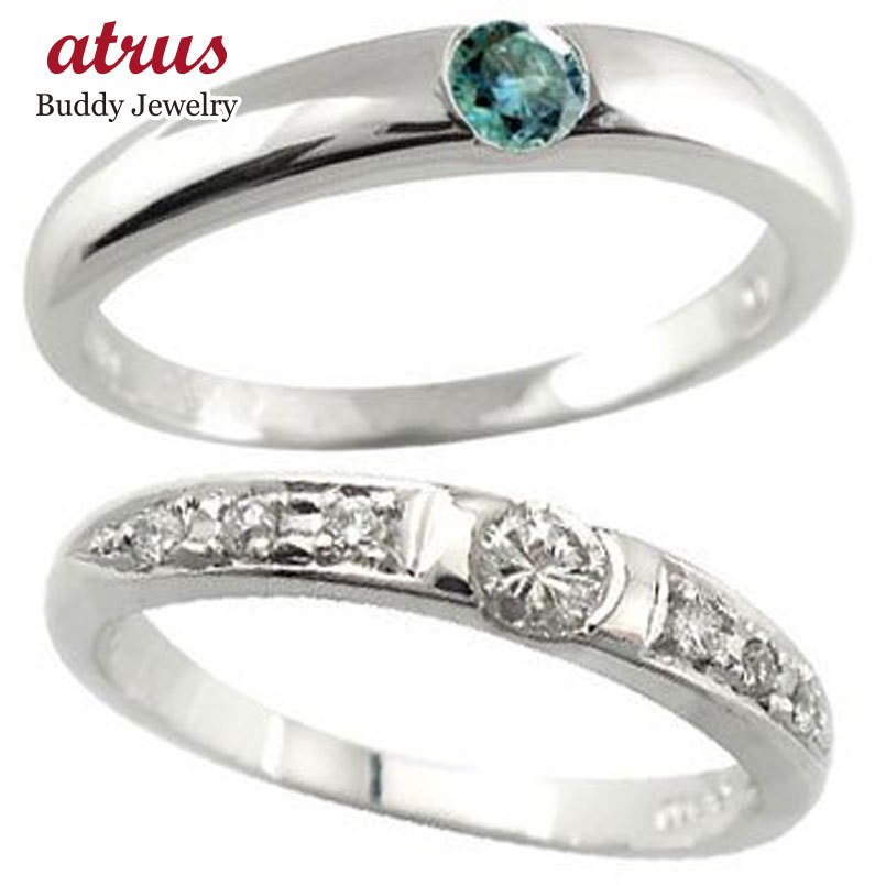週間売れ筋 結婚指輪 マリッジリング 人気 ペアリング ダイヤモンド ブルーダイヤモンド ホワイトゴールドk18 結婚式 18金 ダイヤ ストレート カップル 送料無料, ダイセンチョウ becc3905
