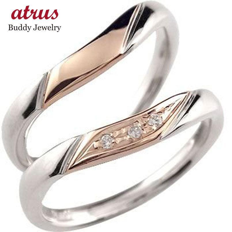 2019人気新作 結婚指輪 安い ペアリング プラチナ 結婚指輪 ダイヤモンド マリッジリング ピンクゴールドk18 コンビリング 結婚式 18金 ダイヤ ストレート カップル 女性, シメマチ b9b1a1e8
