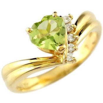 新しいエルメス ピンキーリング ハート リング ペリドット ダイヤモンド 指輪 イエローゴールドk18 18k 18金 ダイヤ 8月誕生石 送料無料, お得セット c6ecbc8a