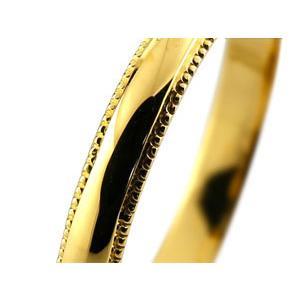 ペアリング 人気 結婚指輪 マリッジリング 結婚式 ミル打ち イエローゴールドk18 甲丸 地金リング 宝石なし 18金 ストレート カップル 2.3  女性 送料無料|atrus|02
