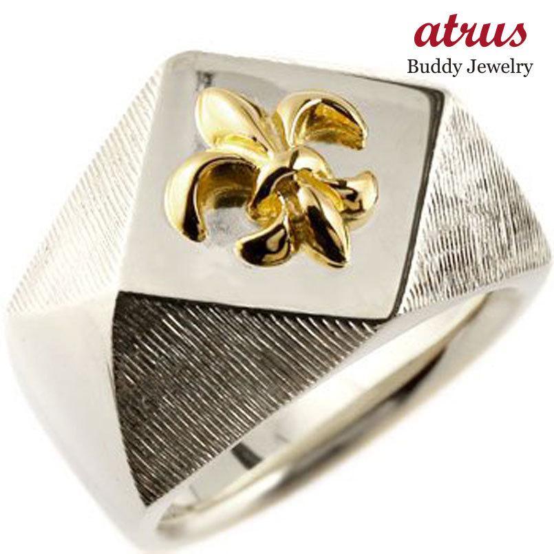 新品 メンズ 印台リング 幅広 ユリの紋章 指輪 ユリの紋章 指輪 シルバー 男性用 イエローゴールドk18 コンビリング ピンキーリング18金 ストレート 男性用 フルール・ド・リス, 竹野町:593db227 --- bit4mation.de