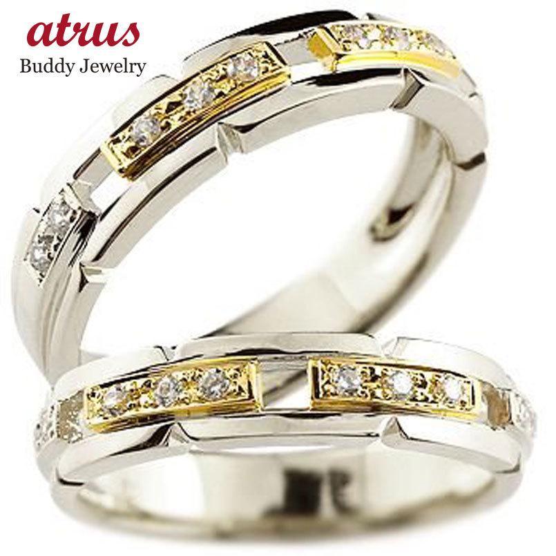 大流行中! 結婚指輪 安い ペアリング 結婚指輪 ダイヤモンド マリッジリング プラチナ イエローゴールドk18 コンビリング ダイヤモンドリング 幅広 結婚式 ダイヤ 18金, インテリア資材館 エーオーエス 70effbeb