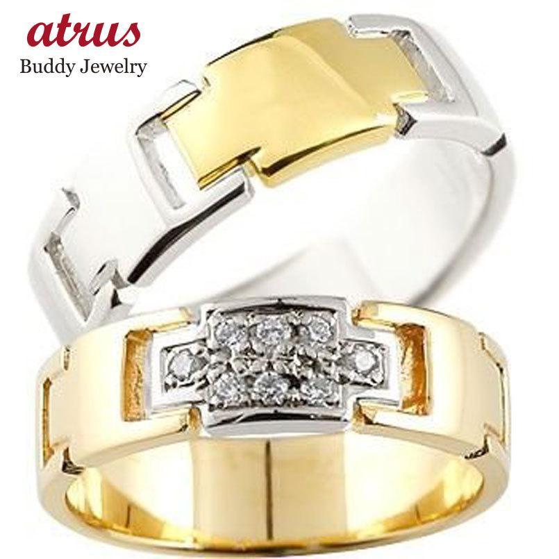 【内祝い】 結婚指輪 安い クロス ペアリング ダイヤモンド イエローゴールドK18 プラチナ 結婚指輪 マリッジリング コンビリング ダイヤ 十字架 結婚式 18金 ストレート, イマヅチョウ 7a2e8c07