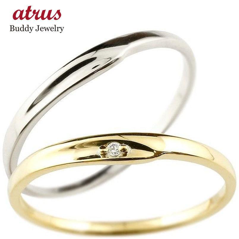 正規代理店 ペアリング 結婚指輪 マリッジリング ダイヤモンド イエローゴールドk10 ホワイトゴールドk10 一粒 10金 華奢 スイートペアリィー カップル 送料無料, ヒガシカガワシ a0a5672e