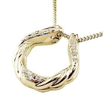 メンズ 馬蹄 ネックレス トップ  ダイヤモンド ペンダント イエローゴールドk18 ホースシュー 蹄鉄 アンティーク風 18金 チェーンバテイ 男性用 送料無料