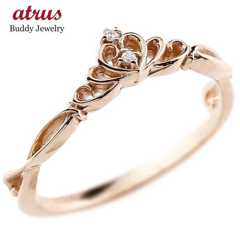 【高価値】 ピンキーリング ティアラ ピンクゴールドk10リング ダイヤモンド シンプル 指輪 華奢リング 重ね付け 指輪 細め 細身 k10 アンティーク レディース 送料無料, アブグン 8e3905d5