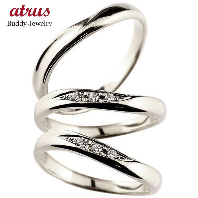 人気アイテム 結婚指輪 ペアリング プラチナ ダイヤモンド マリッジリング 結婚式 ウェーブリング ダイヤ トラスリング カップル 3本セット 男性用 送料無料, 信州いいもの創り隊 森のよろずや acde55de