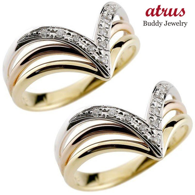 絶妙なデザイン 結婚指輪 安い メンズ ペアリング ダイヤモンド 3色 指輪 ダイヤ スリーカラー V字 プラチナ ゴールド 幅広 pt900 k18 男性用 トラスト 女性 送料無料, スオウオオシマチョウ 44a860db