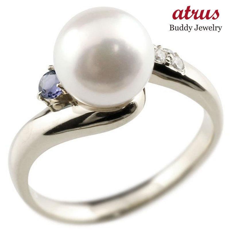 超話題新作 パールリング 真珠 フォーマル アイオライト プラチナ900 リング ダイヤモンド ピンキーリング ダイヤ 指輪 宝石 送料無料, はせがわオンラインショップ a6aaa10a