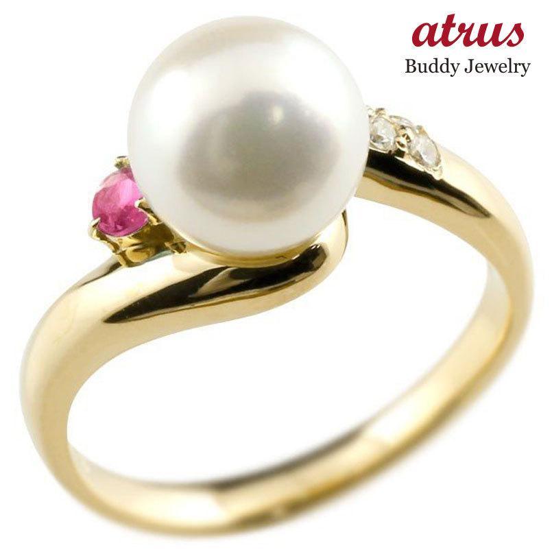最新入荷 パールリング 真珠 フォーマル ルビー イエローゴールドk18 リング ダイヤモンド ピンキーリング ダイヤ 指輪 18金 宝石 送料無料, Poeta Laureado 9f50c8f1