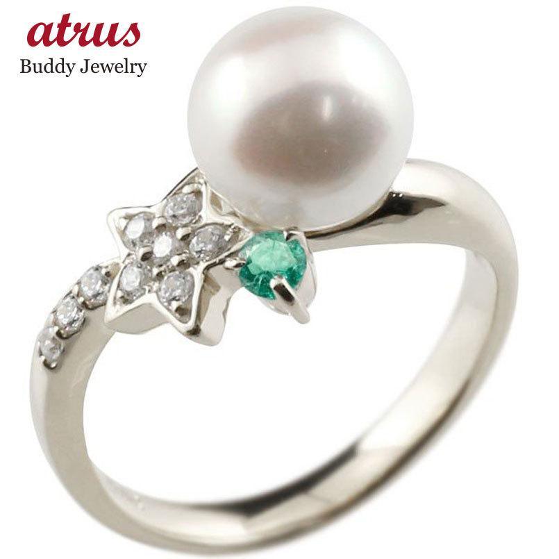 100%安い パールリング 真珠 フォーマル 星 スター エメラルド シルバー925 リング キュービックジルコニア ピンキーリング キュービック 指輪 スパイラル 送料無料, サンヨウチョウ dd9d9ee1