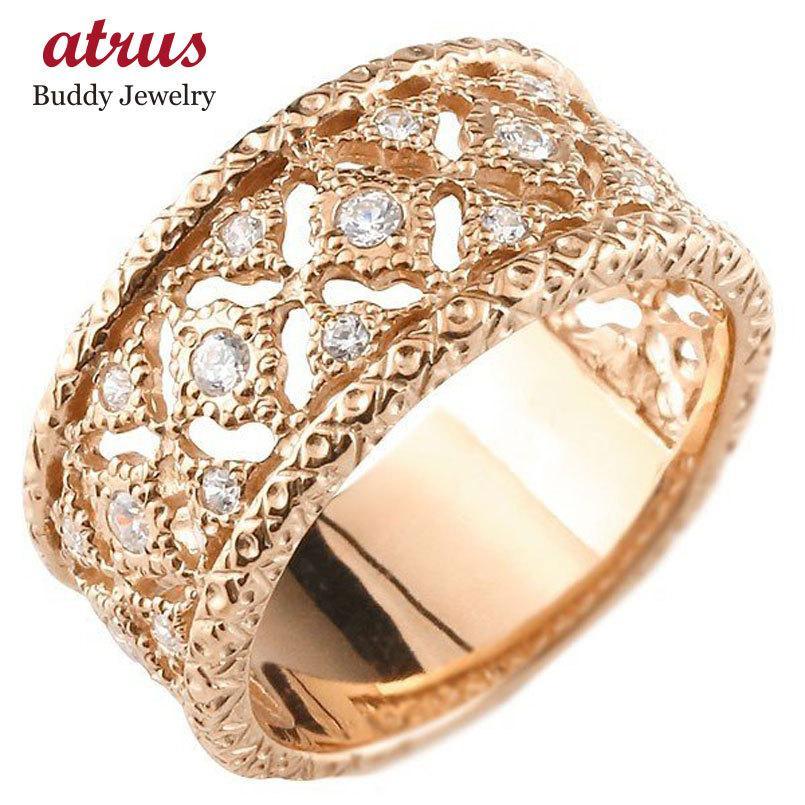 【激安アウトレット!】 メンズ ダイヤモンドリング ピンクゴールドk10 指輪 幅広指輪 婚約指輪 エンゲージリング シンプル 10金 送料無料, ジュエリー August Moon afd0b4de