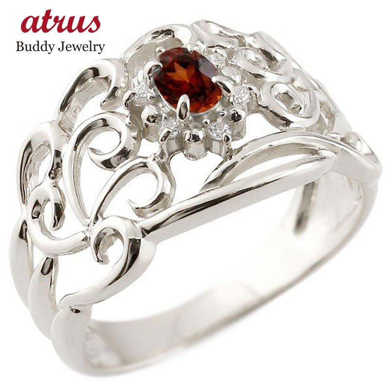 結婚祝い リング ガーネット 指輪 透かし シルバー ダイヤモンド 1月誕生石 幅広リング レディース 宝石 送料無料, ハピネスライフケア 307a556e