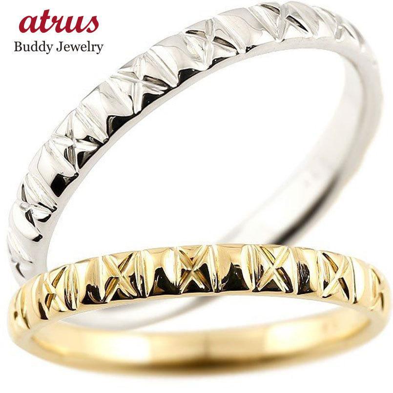 特別セーフ 結婚指輪 安い ペアリング 結婚指輪 マリッジリング イエローゴールドk18 プラチナ900 pt900 アンティーク 結婚式 ストレート 18金 地金リング カップル, プルメリアガーデン 89941fc0