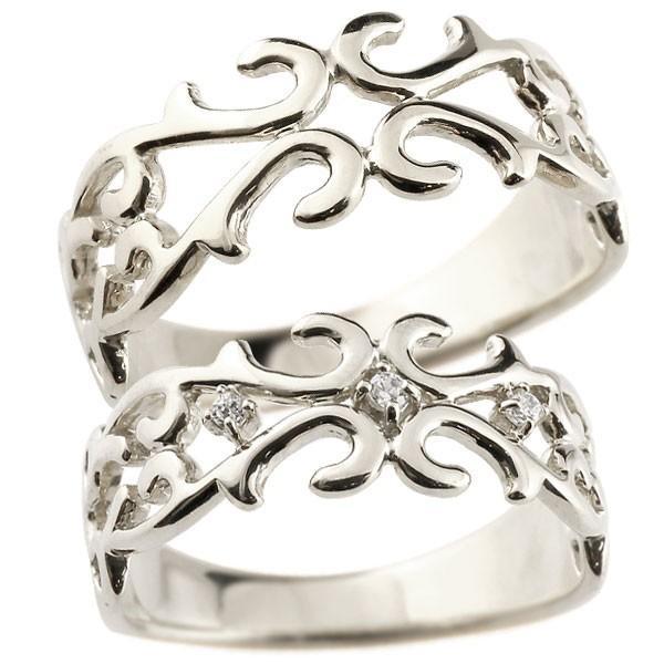 スペシャルオファ 結婚指輪 マリッジリング ペアリング 指輪 ダイヤモンド 透かし アラベスク ストレート ダイヤ シルバー 宝石 送料無料, グリーンPEACE 9a0c483d
