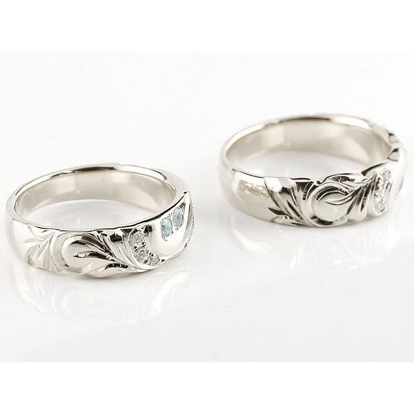 ハワイアンジュエリー 結婚指輪 ペアリング アクアマリン ダイヤモンド ホワイトゴールドk10 幅広 指輪 マリッジリング ハート ストレート カップル 10金|atrus|02